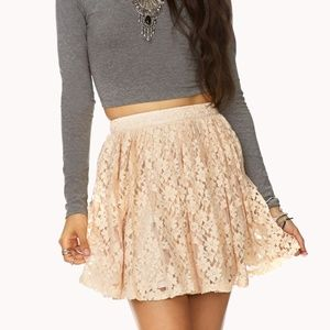 PEACH FLORAL LACE SKATER SKIRT